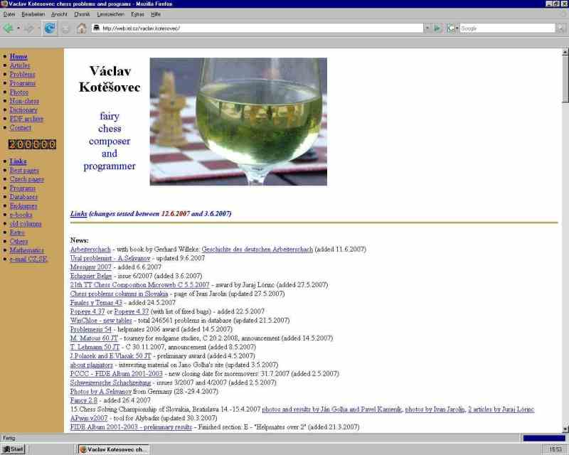 Vaclav kotesovec chess problems and programs 1102007 50000 pages in pdf archive 8112007 electronic edition of chess books by vk started 2632008 250000th visitor fandeluxe Image collections